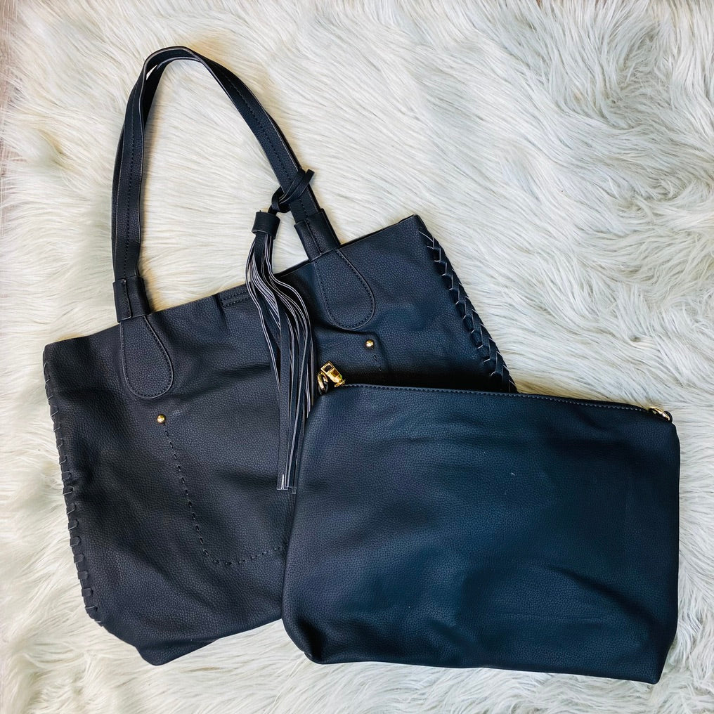 Two in One Tote Bag With Whipstitch- 2 Colors!