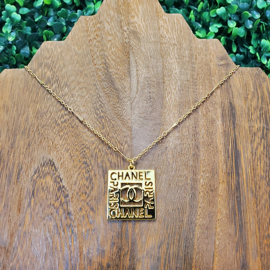 Vintage Gold Chain With Square Chanel Charm