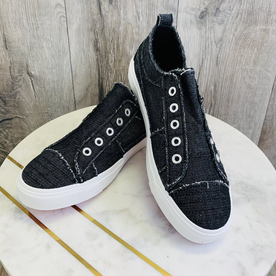 DOORBUSTER!!! Corky's Black Denim Sneakers