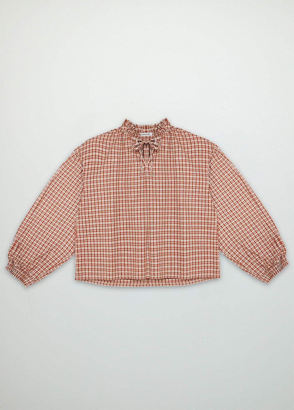 Olivia woman caramel check blouse