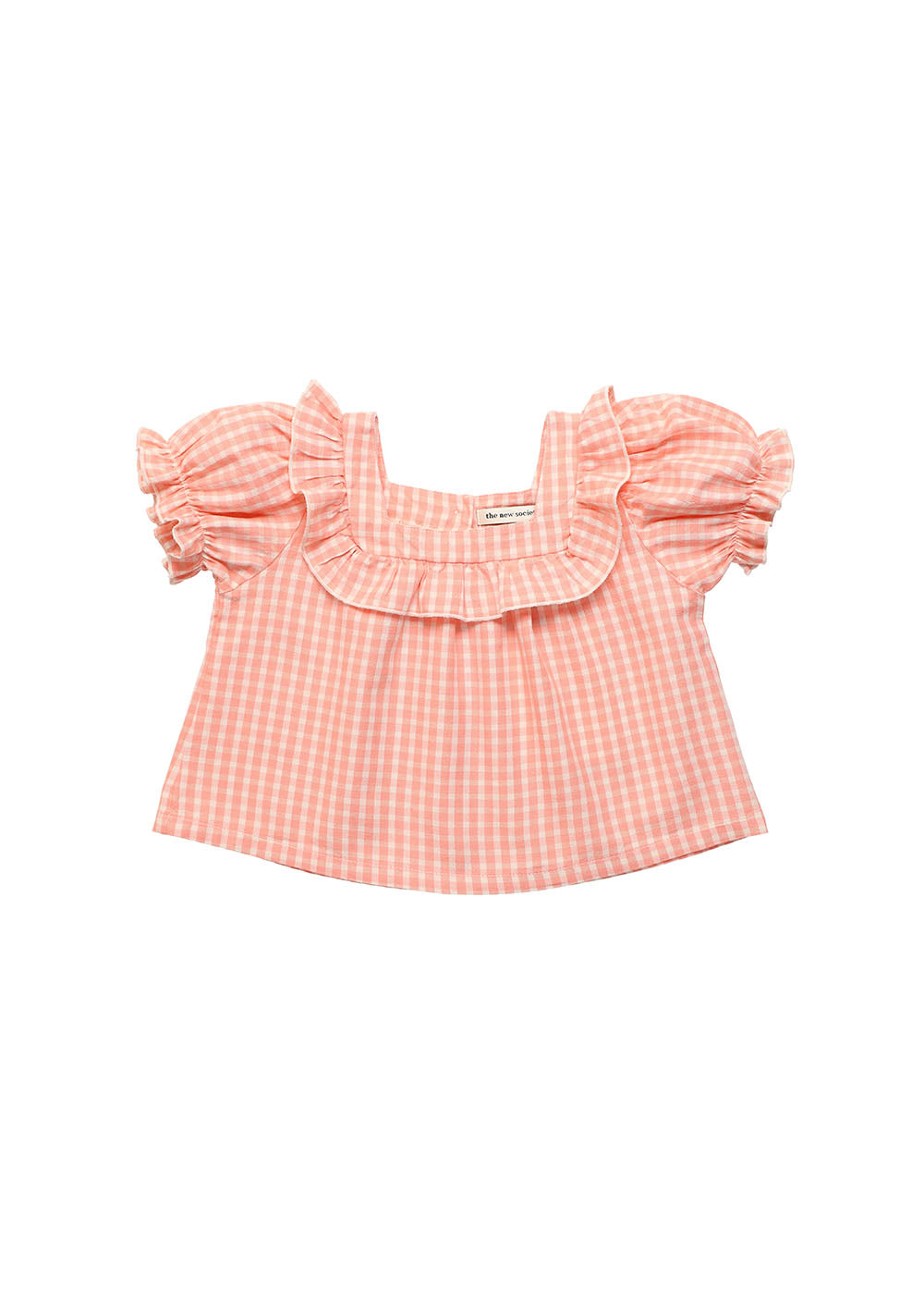 Rachel baby coral check blouse