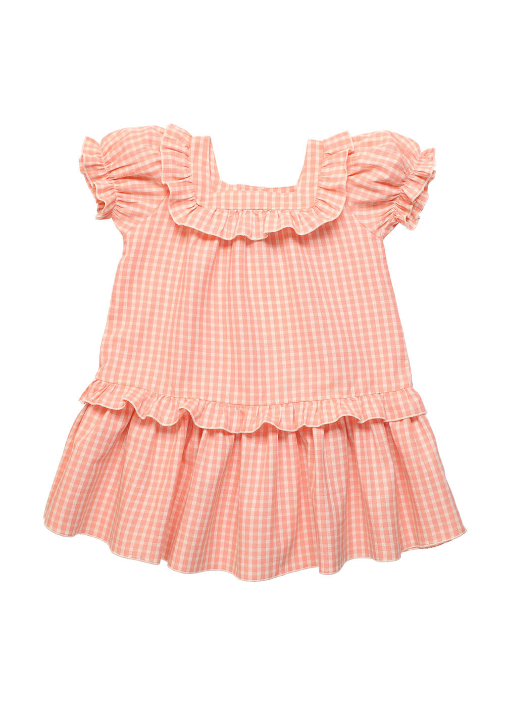 Rachel baby coral check dress