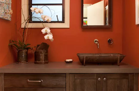 bathroom vanity with dark wood finishes