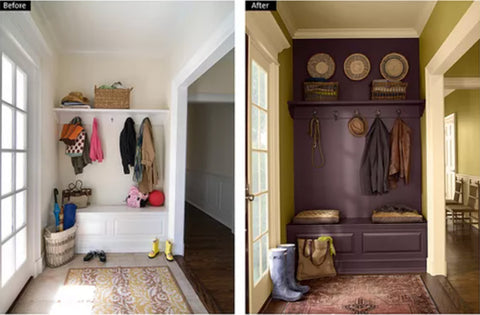 two photos of home entrances with seat, shoes, bench, and coats hanging up