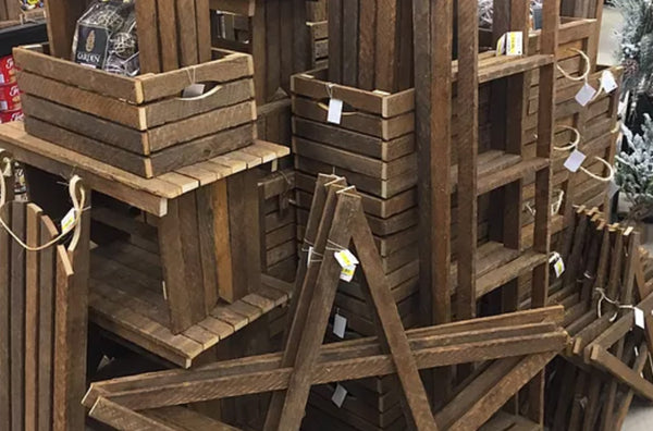 stacks of apple crates