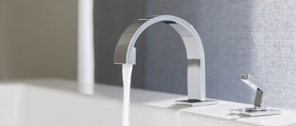 sink with running faucet