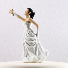 Interchangeable Asian Bride Cake Topper Side View
