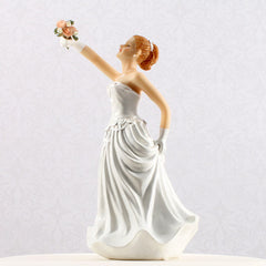 Interchangeable Caucasian Bride Cake Topper Side View