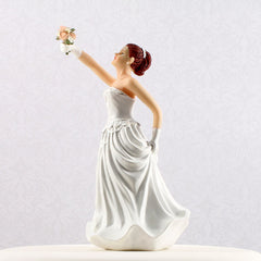 Interchangeable Caucasian Red Haired Bride Cake Topper