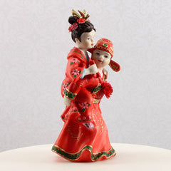 Asian Couple Cake Topper Side View