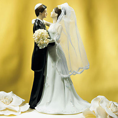 Jewish Bride and Groom Cake Topper on Cake