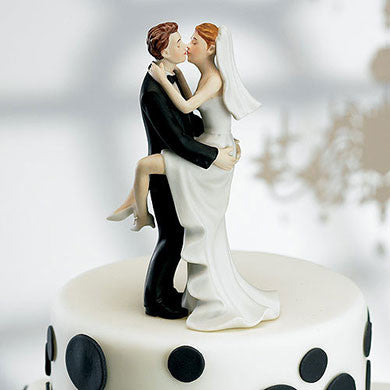Caucasion Couple Kissing Cake Topper