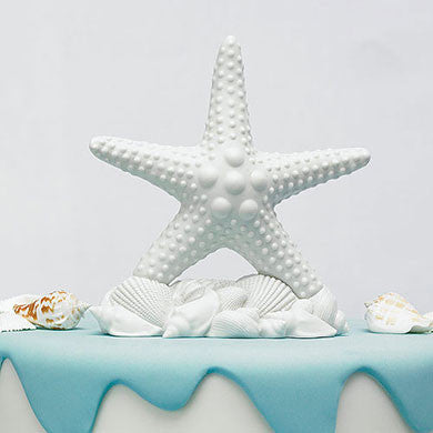 White Starfish Cake Topper Surrounded by Seashells