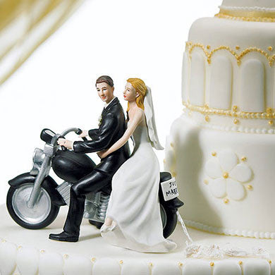 Married Caucasian Couple on Motercycle Cake Topper