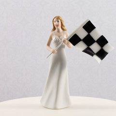 Wife at Finish Line with Victorious Husband Figurine