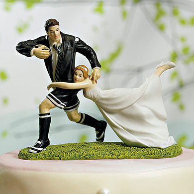 Married Couple Playing Rugby Cake Topper
