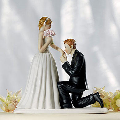 Caucasian Man Kissing Woman's Hand Cake Topper