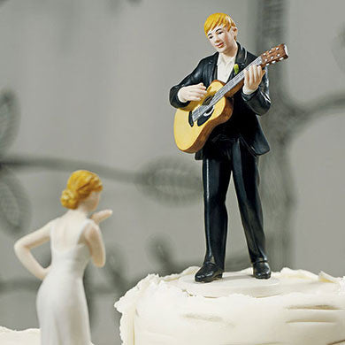Husband Serenading Wife with Guitar Cake Topper Close Up