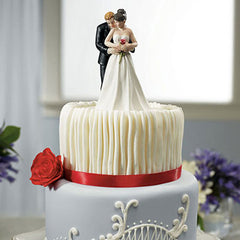 Man Holding Woman Holding Red Rose Cake Topper