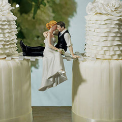 Romantic Couple Cake Topper on Bridge