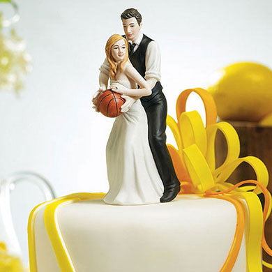Caucasion Couple Playing Basketball Cake Topper