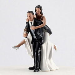 Ethnic Couple Playing Football Cake Topper