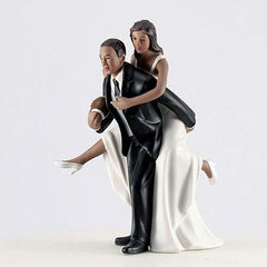 African American Couple Playing Football Cake Topper