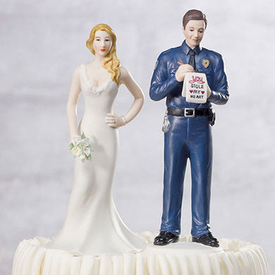 "Policeman Giving ""Love"" Ticket to Bride Cake Topper"