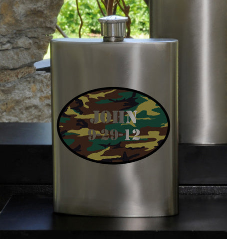 Personalized Camo Party Guy flask