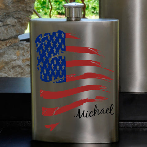 Personalized American Flag Party Guy flask