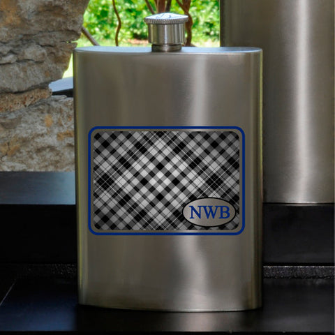 Personalized Plaid Party Guy flask