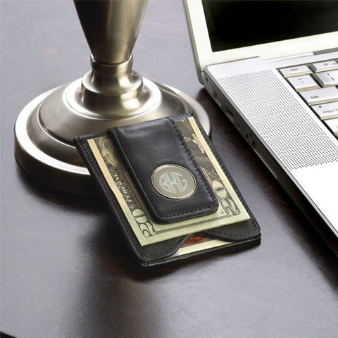 Personalized Leather Wallet & Money Clip - black