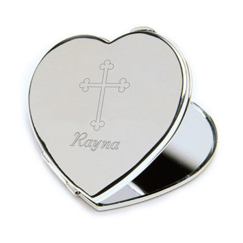 Personalized Inspirational Heart Compact Mirror with Engraved Cross