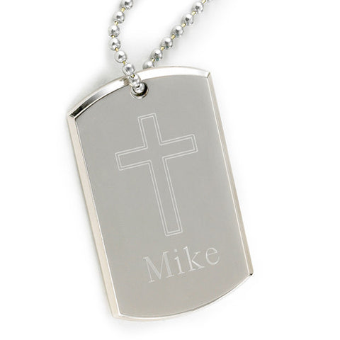 Personalized Large Inspirational Dog Tag with Engraved Cross