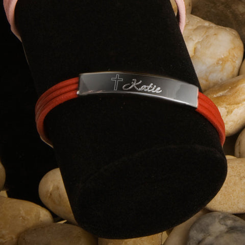 Personalized Inspirational Leather Bracelet with Engraved Cross