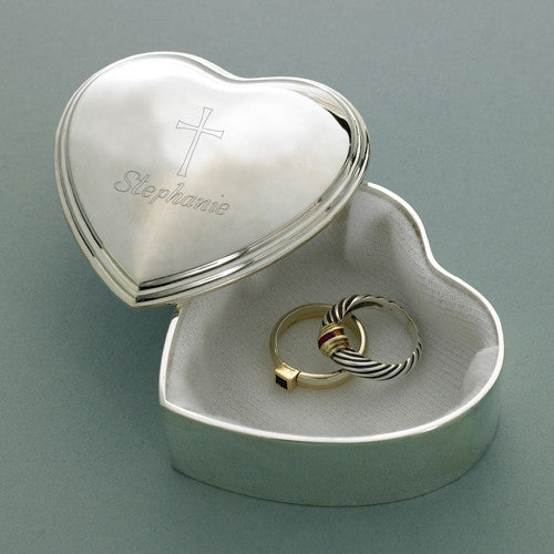 Personalized Inspirational Heart Trinket Box with Engraved Cross