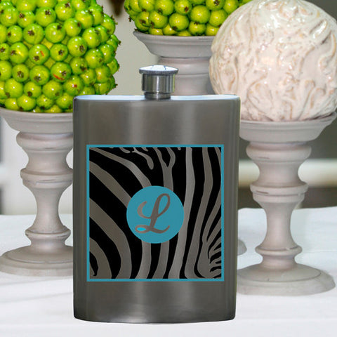 Personalized Zebra Party Girl Flask