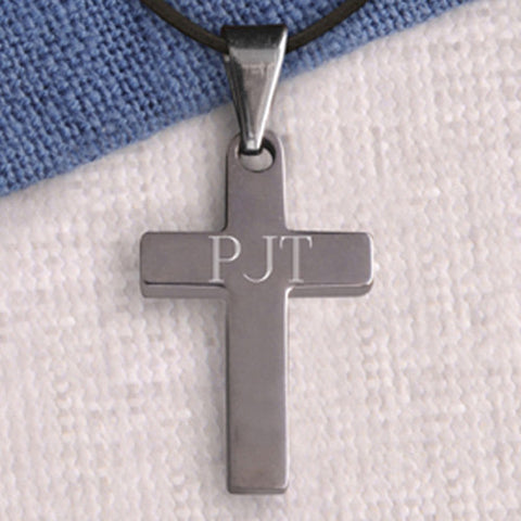Personalized Simple Silver Cross Necklace