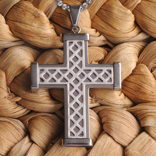 Personalized Silver Weave Cross Necklace