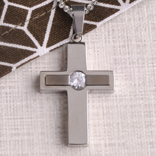 Personalized Jewel Inlay Cross Necklace