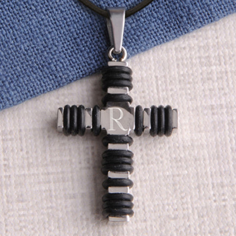 Personalized Black Wrapped Cross Necklace