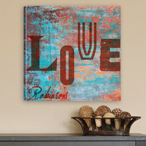 Personalized Watercolor Love Canvas