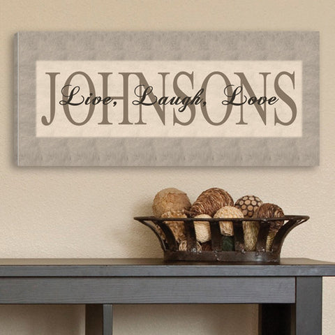 Personalized Grey Live, Laugh, Love Canvas