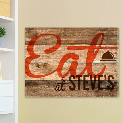 Customized Wood Restaurant Sign Canvas
