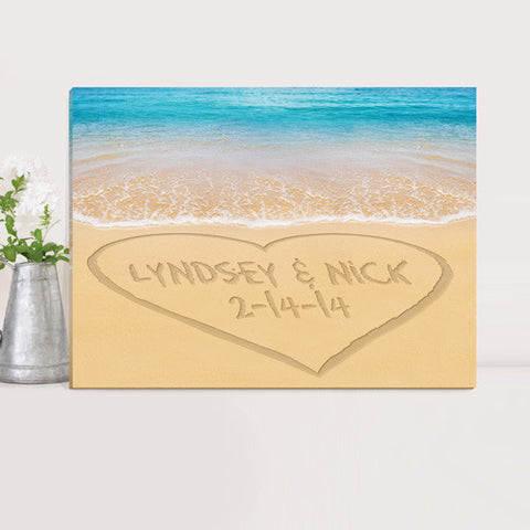 Personalized Couples Canvas Print - Caribbean Sea
