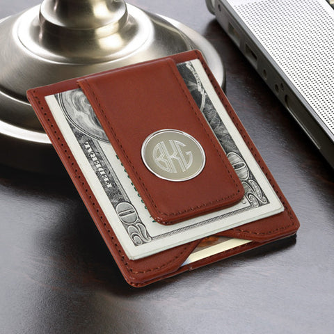 Personalized Leather Wallet & Money Clip - Brown