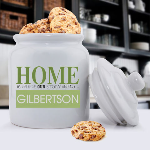 Personalized Ceramic Cookie Jars - Our Story Begins