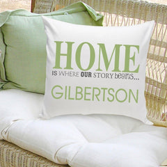 Personalized Family Name Pillow - Our Story Begins