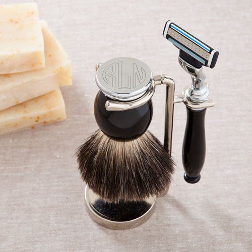 Monogram Shaving Set - Badger Hair Brush and Razor Set