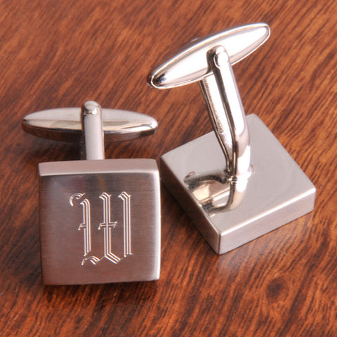 Personalized Brushed Silver Square Cufflinks